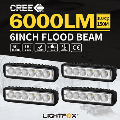 4x 6inch 30W LED Light Bar Work Driving Lamp Flood Truck Offroad UTE 4WD