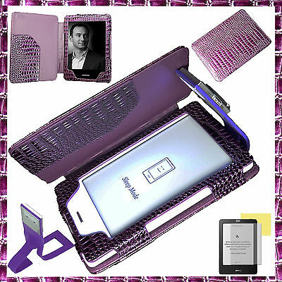KOBO TOUCH/ KINDLE4 PURPLE CROCODILE COVER CASE +READING LIGHT +SCREEN PROTECTOR