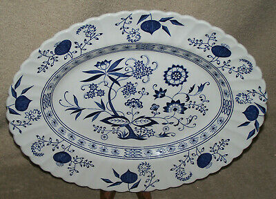 "13 1/4"" Oval Serving Platter - J & G Meakin's Blue Nordic Pattern"