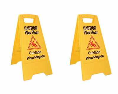 Caution Wet Floor Sign, Case of Two, Bright Yellow, Plastic