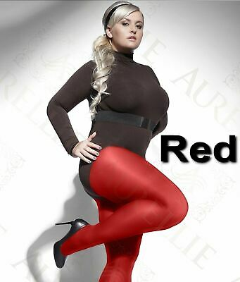 40 or 60 Denier Red Plus Size L to XXXXL  Microfibre Tights Semi Opaque Hosiery