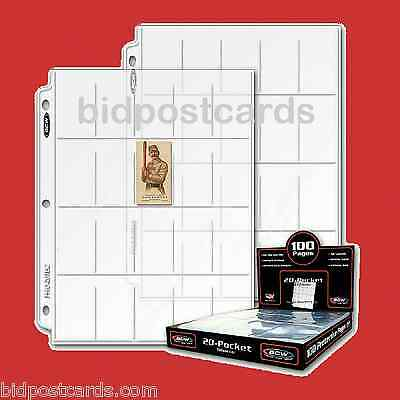 50 BCW 20-Pocket Archival Display Pages Holder T206 T207 Tobacco Cigarette Cards