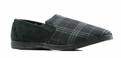 New Mens Grosby Fabio Comfortable Charcoal/Black Slippers Moccasins Warm Shoes