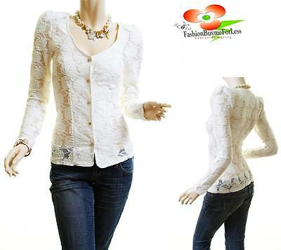 Victorian Ivory Floral Sheer Lace Gold Buttons Fitted Blouse Cardigan Shirt Top