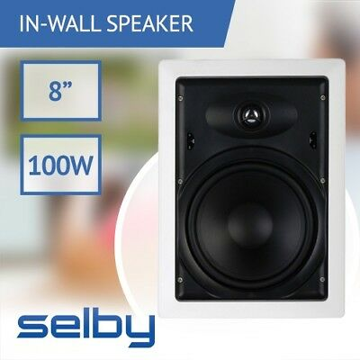 8 inch Selby In-Wall Ceiling 2-Way Speaker Single Poly Woofer 100 Watts White