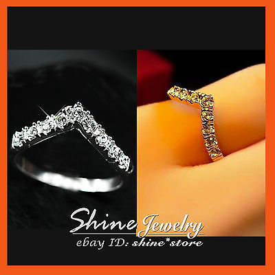 9K WHITE GOLD GF R81 ENGAGEMENT WEDDING Simulated Diamond SOLID BAND TOE RING