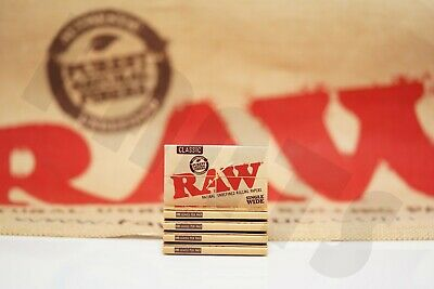 5 Packs Of Authentic Raw Rolling Paper Classic Single Wide Natural Unrefined