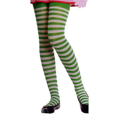 Enchanted LA 4710 Girls Striped Tights Elf Child L XL Grass Green White Stripes