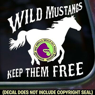 WILD MUSTANGS FREE BLM Horse Rider Equine Car Window Sign Vinyl Decal Sticker