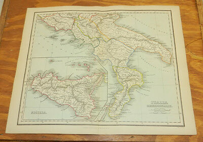 1853 Antique COLOR Map/ SOUTHERN ITALY & SICILY /Findlay