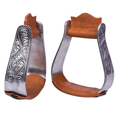 NEW Western Show Stirrups for Show with Engraving / Engraved Detail and Leather
