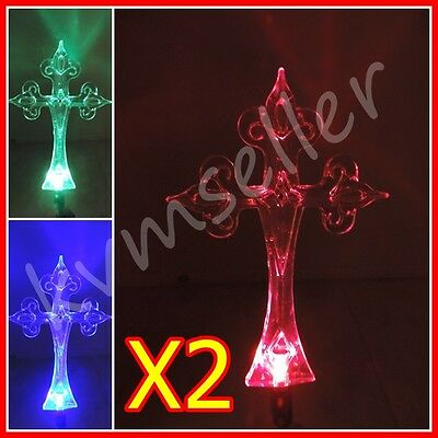 Set of 2 Solar Powered Cross Garden Yard Stake Color Changing LED Great New Gift