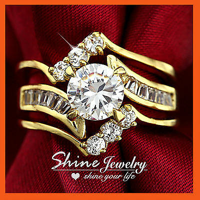 18K Gold Gf R233 Luxury Infinity Wave Diamonds Solid Engagement Wedding Ring Set