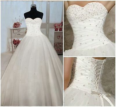 New White/Ivory Wedding Bridal Dress Prom Ball Gown Size 6-8-10-12-16-18