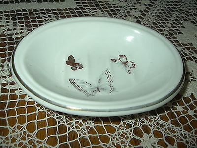 Vintage soap dish LEFTON CHINA 6124 gold band hand painted Butterflies