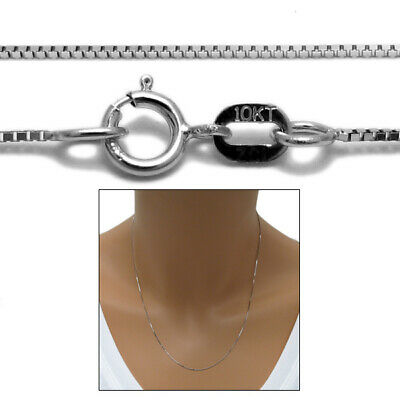 """Guaranteed 10K White Gold Box Chain Necklace 0.6mm 16""""-24"""""""