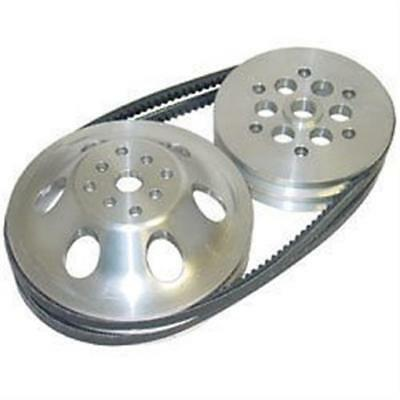 Aluminum Pulley Kit 30% ratio Short Water Pump SBC Chevy belts double groove UMP