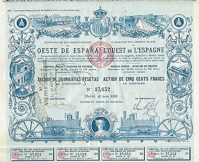 SPAIN RAILWAYS OF WESTERN SPAIN stock certificate 1888 WITH COUPONS