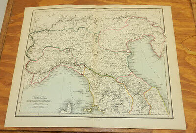1853 Antique COLOR Map/NORTHERN ITALY/Findlay