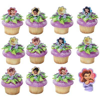 Tinkerbell Fairies Party Supplies Cupcake Cake Rings Decorations (Pack Of 12)