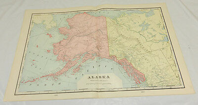 1904 Antique Cram COLOR Map/ALASKA/Large 14x22""