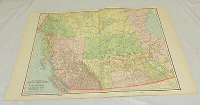 1904 Antique Cram COLOR Map/WESTERN CANADA/Large 14x22""