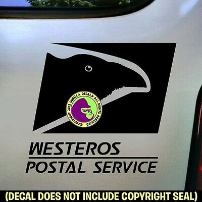 WESTEROS POSTAL SERVICE Game of Thrones Car Window Bumper Sign Decal Sticker BL