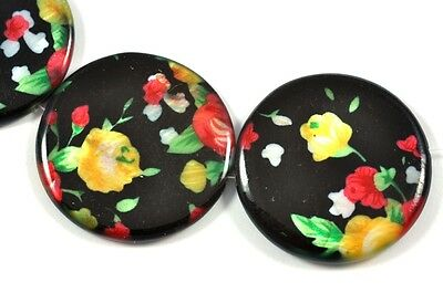10x Black Yellow Red  Flower Floral Coin  Disc Shell Mother of Pearl  Beads
