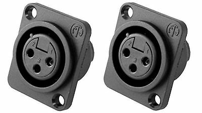 (2 Pack)  New Neutrik NC3FPP Female 3-Pin Mic XLR Panel Mount Non-Latching