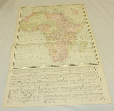 1904 Antique Cram COLOR Map/AFRICA, b/w NEW ZEALAND (SOUTH ISLAND)/Large 14x22""