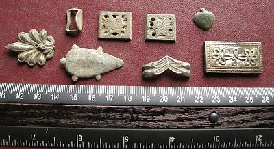 Authentic Artifact   8 - SILVER Roman to Medieval Belt Decoration Fittings 0737