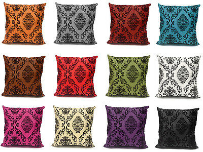 Damask Flock Velvet Print Silk Decorative Cushion Cover Pillow Case 43 cm or 17""