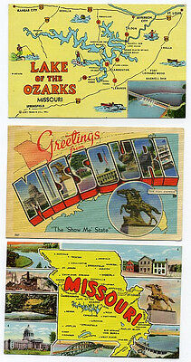 3 Missouri postcards - including maps