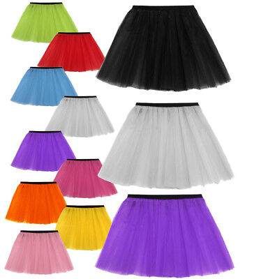 "14"" Long Ladies Girls Neon Tutu Skirt Adult All Sizes 6-14 & 16-26 Hen Plus Flo"