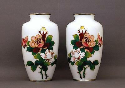Pair of Japanese White Cloisonne Vase with Rose
