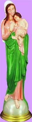 Madonna and Child Colored Religious Garden Statue