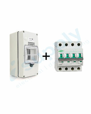 Circuit Breaker 20A 4 Pole MCB DC1000V (Non polarised) Waterproof Enclosure