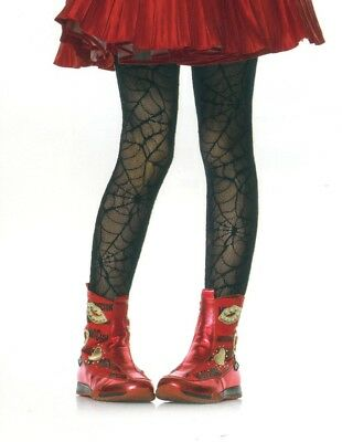 Leg Ave 4909 Child Tights Spider Web Lace Dancer Halloween Girl S/M or M/L Black