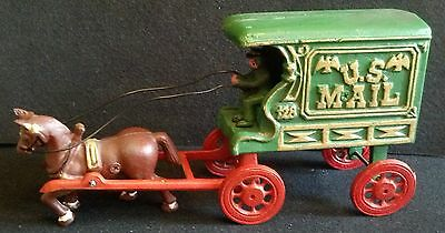 CAST IRON HORSE & DRIVER  U S MAIL WAGON CARRIER