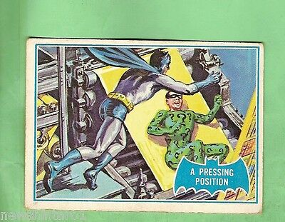Scanlens 1966 Batman Blue  Bat Card #36B  A Pressing Position