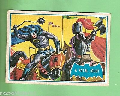 Scanlens 1966 Batman Blue  Bat Card #34B  A Fatal Joust