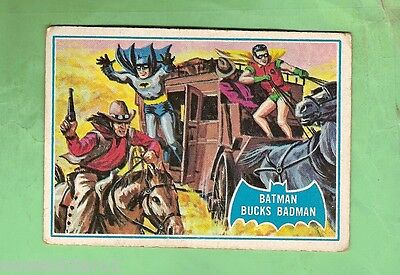 Scanlens 1966 Batman Blue  Bat Card #31B  Batman Bucks Badman