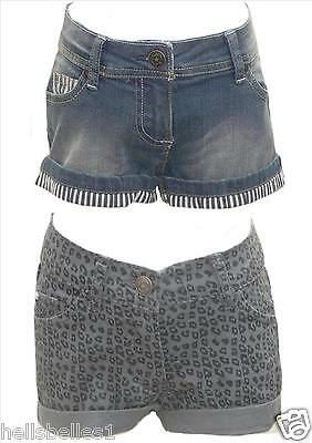 Girl's Funky Diva Blue Denim Or Leopard Print Shorts 4-5 5-6 7-8 9-10 Yrs