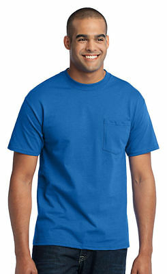 Port & Company T-Shirt Men's 50/50 Cotton/Poly with Pocket NEW. PC55P