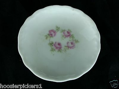"Antique KPM Branuteco German China Small pink flowers 3 3/8"" d. Butter Pat L*"