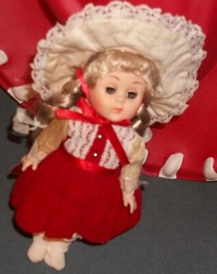 """Ginny 1987 Doll.Vogue. Red dress/Hat/Tights./7 1/2"""". Preowned./writing on back"""