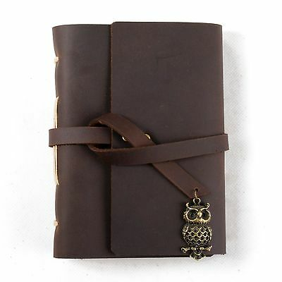 Ancicraft Leather Journal Diary with Retro Owl Charm A6 Blank Craft Paper Gift
