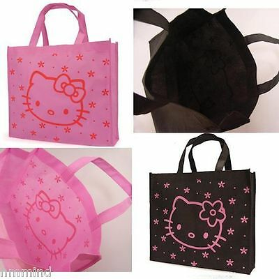 2 x Hello Kitty Black & Pink Small Reusable Book Shopping Tote Bags (2 Bags)