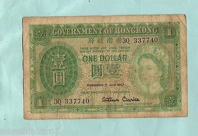 HONG KONG ONE DOLLAR, 1st July 1957, Serial # 3Q 337740