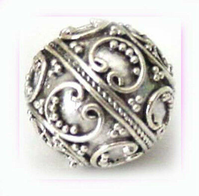 solid 925 Sterling Silver Large bali Bead Spacer heart round 15mm antique B128